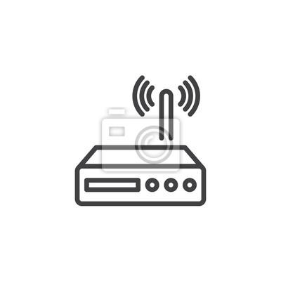 Wi-fi router-linie ikone, entwurfsvektorzeichen, lineares ...