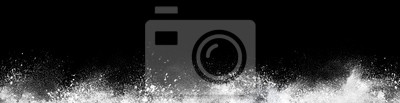 Fototapete Wide design of abstract powder dust explosion over black background
