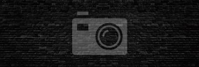 Fototapete Wide old black shabby brick wall texture. Dark masonry panorama. Brickwork panoramic grunge background