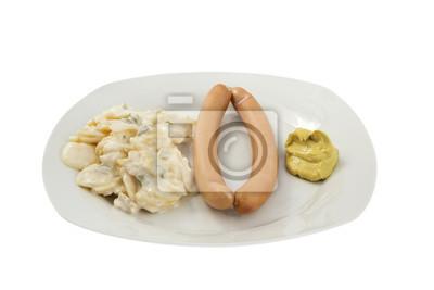 Wiener mit Kartoffelsalat und Senf