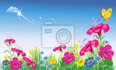 Wiese mit Blumen. Vektor-Illustration