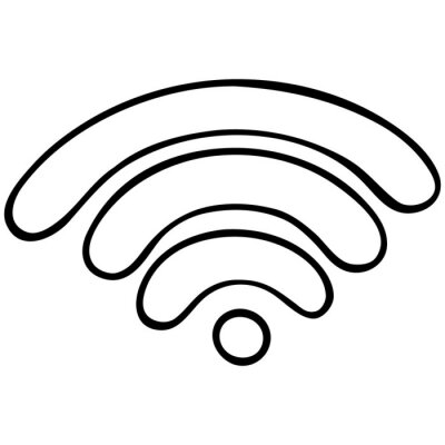 Wifi signal. Spray wireless internet. Access to the world wide web. Vector illustration. Contour on an isolated white background. Doodle style. Sketch. Online Symbol. Distance.
