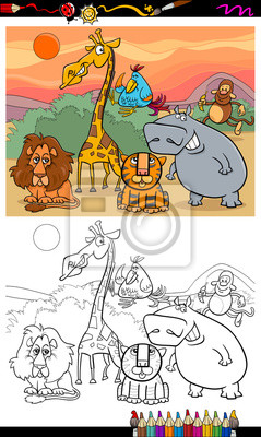 Fototapete: Wild animals cartoon coloring book