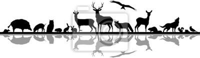 Fototapete Wild Animals Forest Landscape Vector Silhouette
