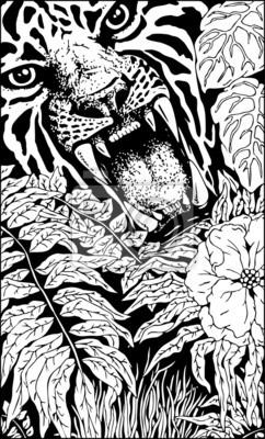 Fototapete Wild Tiger Roar Doodle Art BW