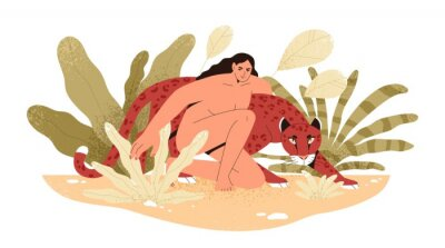 Fototapete Wilderness naked woman hug jaguar at tropical bushes vector flat illustration. Predator and human together isolated. Contemporary concept of wild female nature, environment protection.