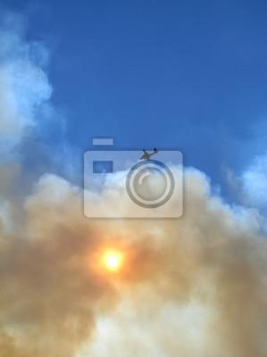 Wildfire Rauch Himmel und Flugzeug