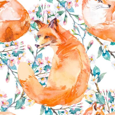 Fototapete Wildleben Muster. Fuchs und blühende Zweige. Vektor.