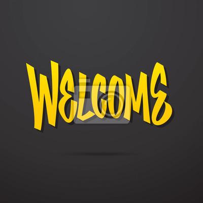 Willkommen Hand geschrieben Beschriftung. Vector Kalligraphie