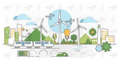 Fototapete Wind energy vector illustration. Green alternative power in outline concept