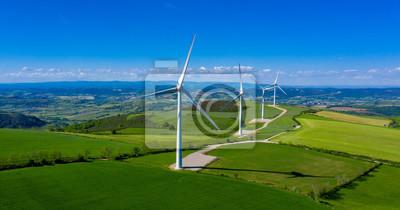 Fototapete wind turbine, renewable energy- aerial view