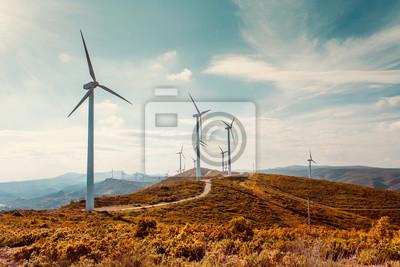 Fototapete Wind turbines on beautiful sunny summer autumn mountain landsape. Curvy road through mountain Eolic park. Green ecological power energy generation. Wind farm eco field