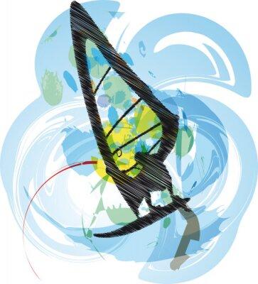 Windsurfen Abbildung. Vector