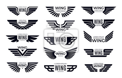 Fototapete Wings badges. Flying emblem, eagle bird wing and winged frame. Aviation pilot patch badge, army insignia emblem or biker logotype sticker. Isolated vector icons set