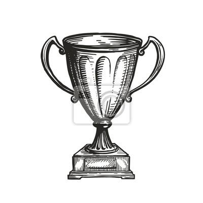 Fototapete Winner trophy award. Win, winning, champion symbol. Hand drawn sketch vector illustration