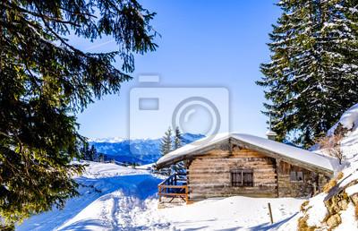Winter Fototapete Fototapeten Alpen Idylle Blockhaus Myloview De