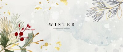 Fototapete Winter background design  with watercolor brush texture, Flower and botanical leaves watercolor hand drawing. Abstract art wallpaper design for wall arts, wedding and VIP invite card.  Vector EPS10