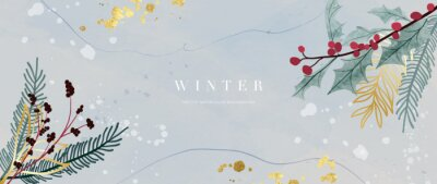 Fototapete Winter background vector. Hand painted watercolor and gold brush texture, Flower and botanical leaves hand drawing. Abstract art design for wallpaper, wall arts, cover, wedding and  invite card.