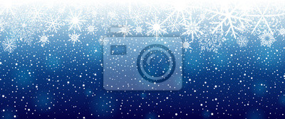 Fototapete Winter background with snowflakes. Vector illustration