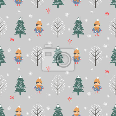 Fototapete Winter forest with girl seamless pattern on grey background. Christmas scandinavian style nature illustration. Winter forest with children design for textile, wallpaper, fabric.