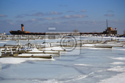 Winter gefrorener Docks Old Ship