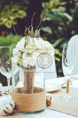 Winter Hochzeit Dekoration Mit Baumwolle Blume Im Bankett
