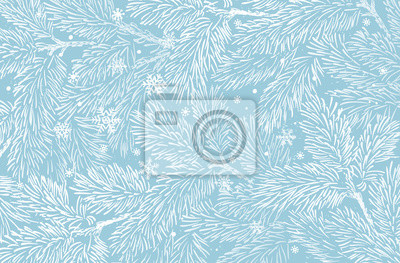 Fototapete Winter holidays background with pine branches and snowflakes. Winter card design.