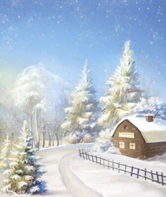 winter landscape, village