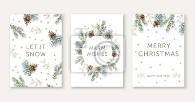 Fototapete Winter nature design greeting cards template, circle frame, text Let it Snow, Warm Wishes, Merry Christmas, white background. Green pine, fir twigs, cones, stars. Vector xmas illustration
