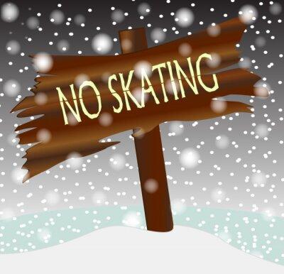 Winter No Skating Wooden Board