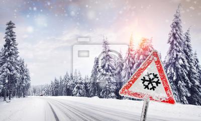 Winter Schneefall Fototapete Fototapeten Strassenverkehr
