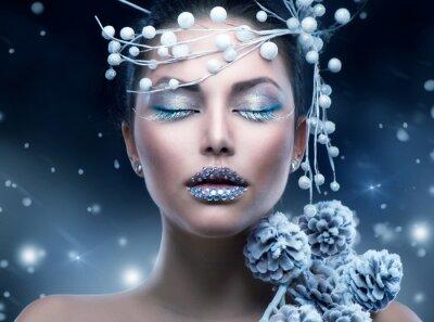 Fototapete Winter-Schönheit Frau. Weihnachten Mädchen Make-up