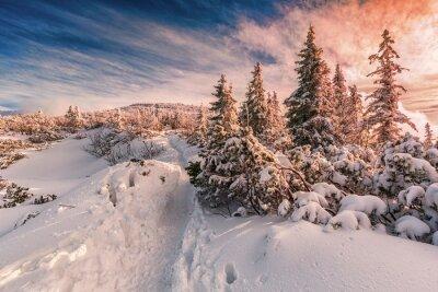 Fototapete Winter Sonnenuntergang auf Beskiden Berge