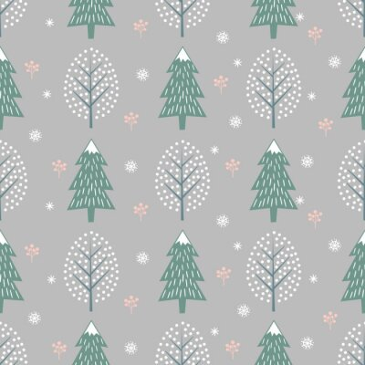 Fototapete Winter trees seamless pattern on grey background. Vector design with xmas trees, snowflakes, berries for winter holidays. Print for textile, wallpaper, wrapping paper, fabric.