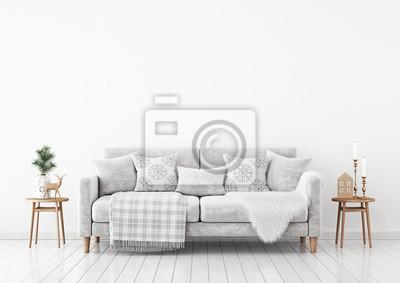 Fototapete Winter Wohnzimmer Innenraum Mit Samt Sofa, Kissen Und Plaid Auf  Weißen Wand Hintergrund.