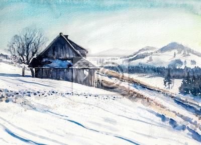 winterlandschaft mit kleinen haus in den bergen aquarell gemalt fototapete fototapeten idylle. Black Bedroom Furniture Sets. Home Design Ideas