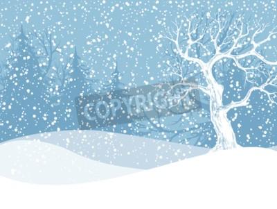 Fototapete Winterlandschaft mit Tannenbäumen und fallendem Schnee. Weihnachtsabbildung. Vektor-Illustration enthält Verlaufsmaschen.