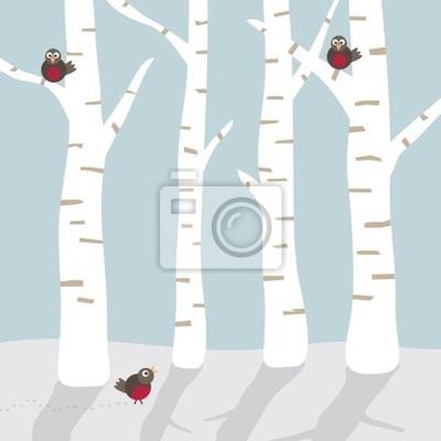 Winterlandschaft mit Vögeln