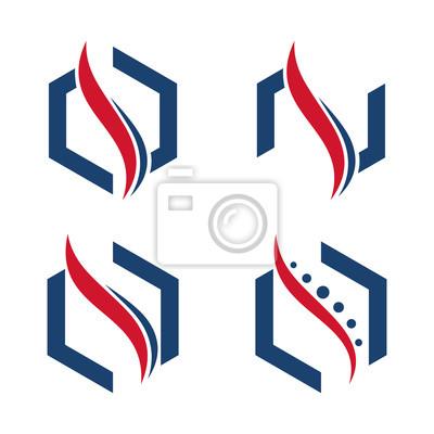 Wirbelsäule chiropraktik sechseck logo-vorlage fototapete ...