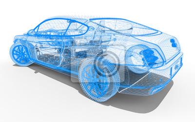 Wire rahmen auto / 3d render bild, die ein auto in draht-frame ...