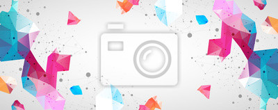Fototapete Wireframe background with plexus effect. Futuristic vector illustration.
