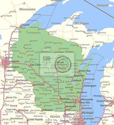 Wisconsin-us-staaten-vectormap-a fototapete • fototapeten ...