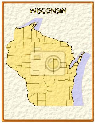 Wisconsin usa state map dichtung emblem bundes amerika fototapete ...