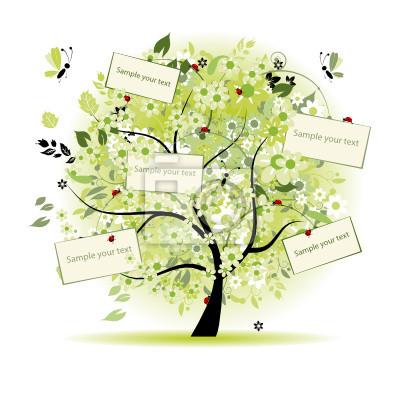 Wish Tree floral mit Karten für Ihren Text