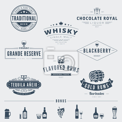 Wisky Hipster Logo Design Vector Typography Lettering Templates