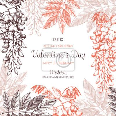 Wisteria Blume Hintergrund Valentinstag Karte Oder Einladung