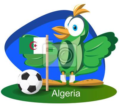 WM-Maskottchen 2014 mit Algerien-Team-Flagge