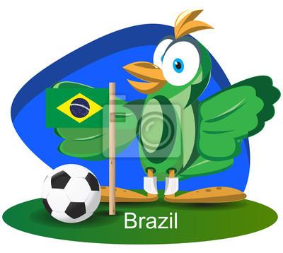WM-Maskottchen 2014 mit Brasilien-Flag-Team