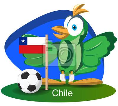 WM-Maskottchen 2014 mit Chile-Team-Flagge