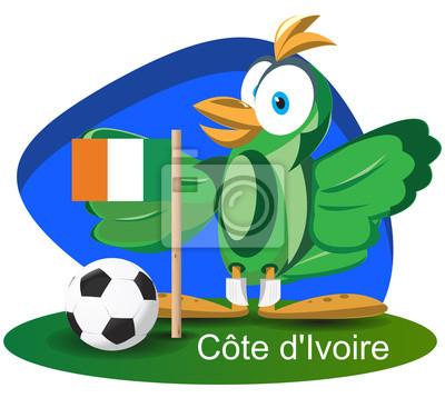 WM-Maskottchen 2014 mit Côte d'Ivoire Team-Flagge